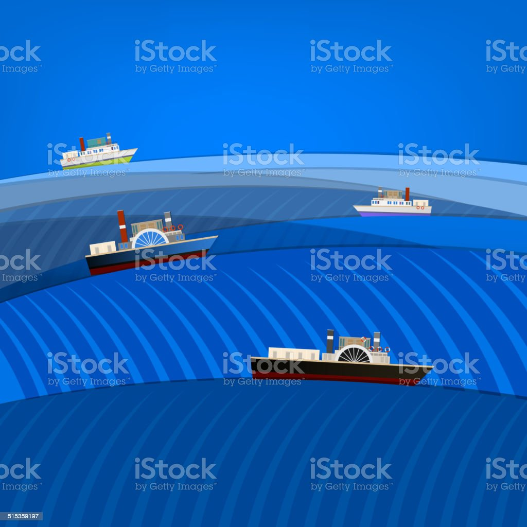 abstract seascape with ships vector art illustration