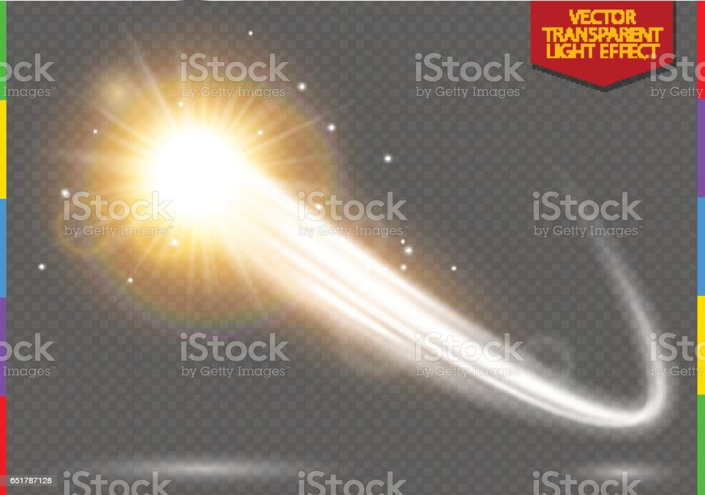 Abstract semitransparent vector magic glow star trail light effect with neon blur curved line shoots up. Sparkling translucent comet bokeh. Special golden christmas effect on transparent background vector art illustration