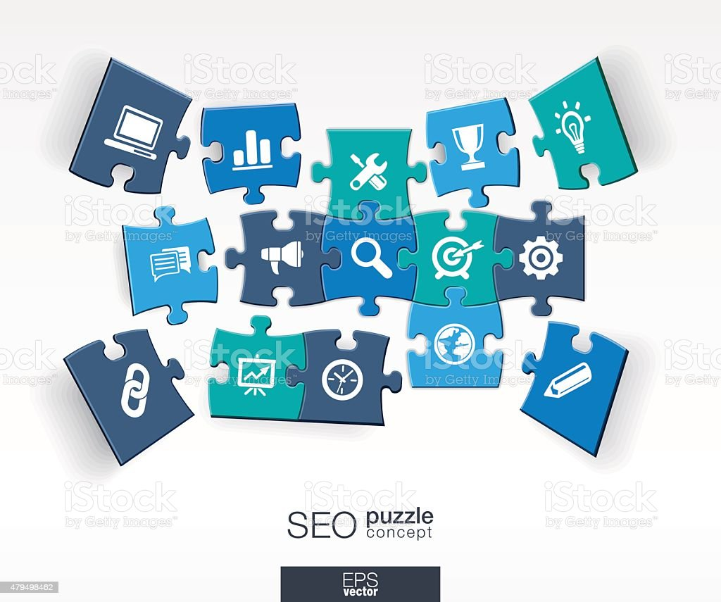 Abstract SEO background with connected color puzzles, integrated flat icons vector art illustration