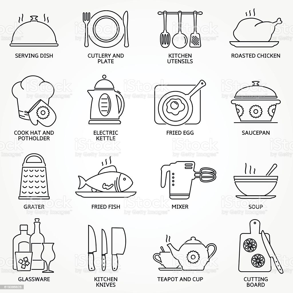 Abstract set of line kitchen tools and food icons vector art illustration