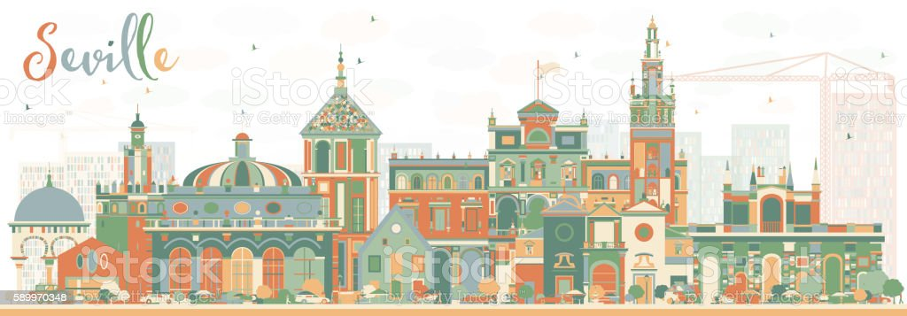 Abstract Seville Skyline with Color Buildings. vector art illustration