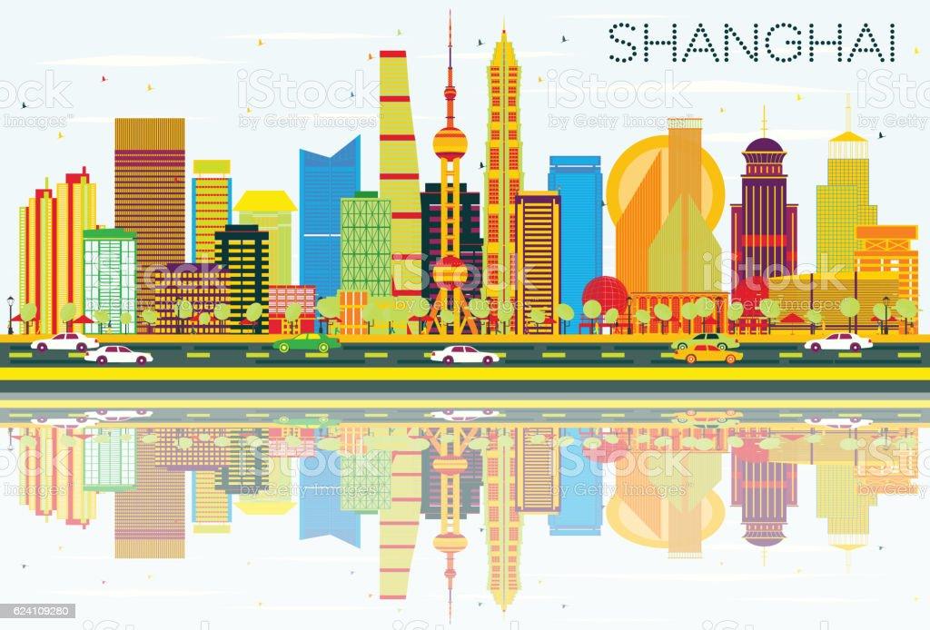 Abstract Shanghai Skyline with Color Buildings, Blue Sky vector art illustration