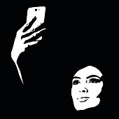 Abstract shapes creative portrait of young woman taking selfie
