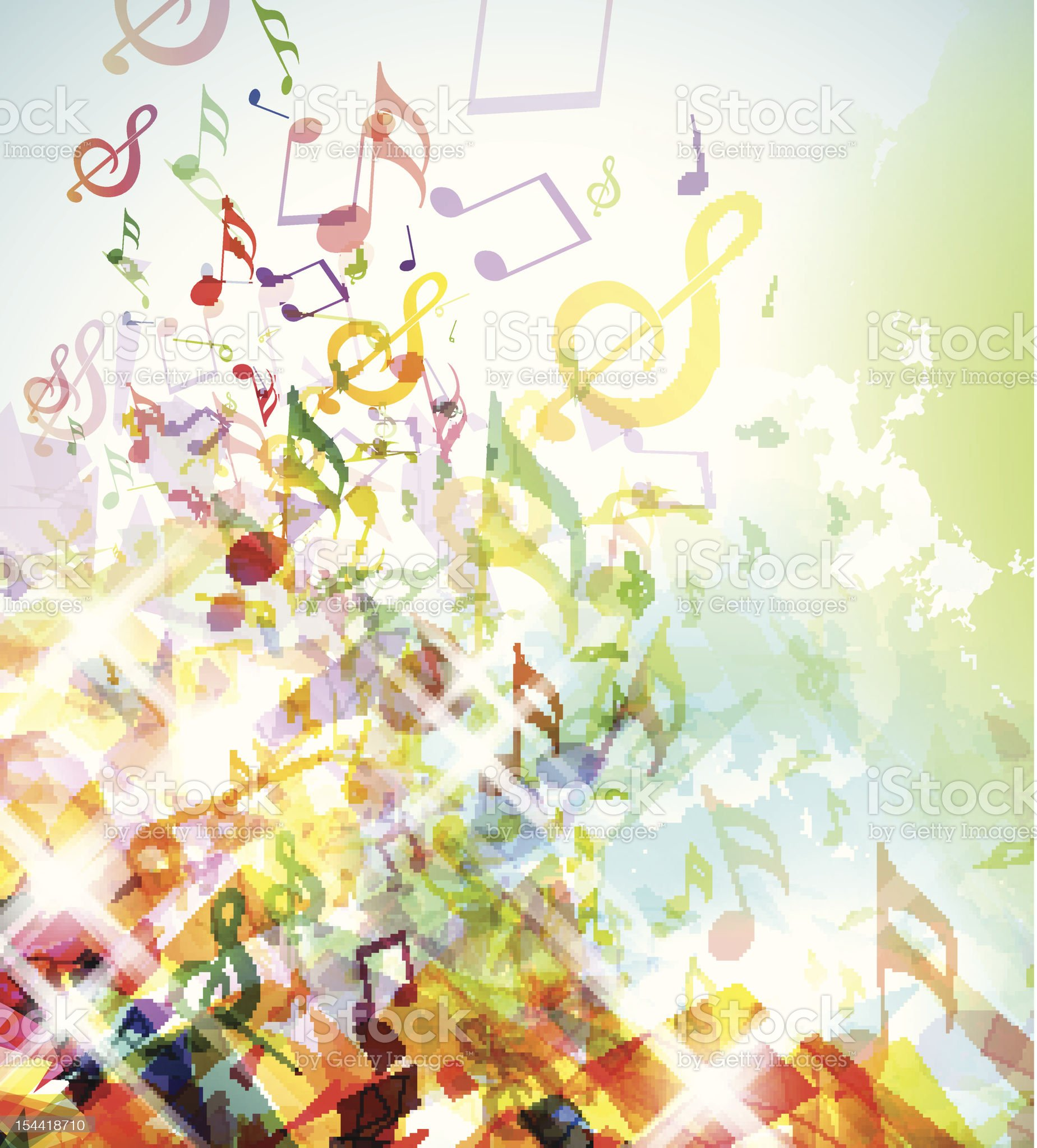 Abstract Shattered Music Notes Background royalty-free stock vector art