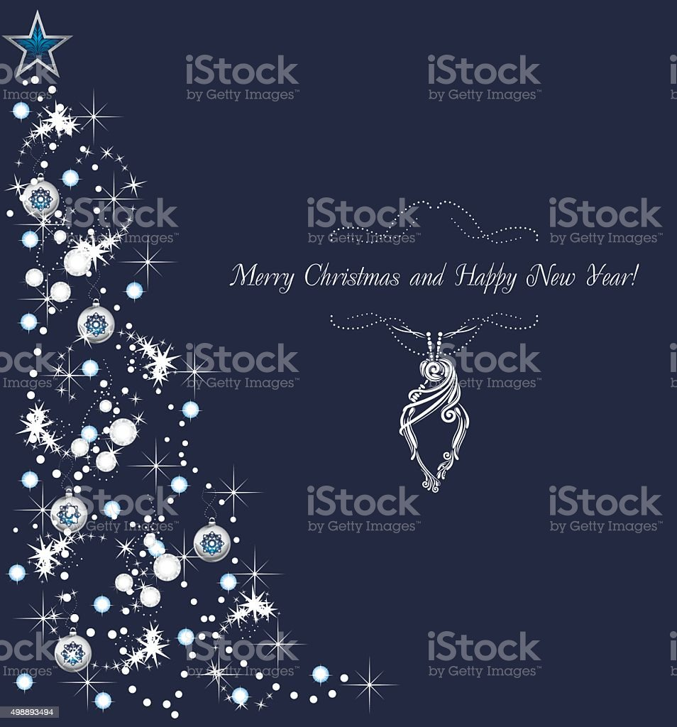 Abstract shining Christmas tree on the dark blue background vector art illustration