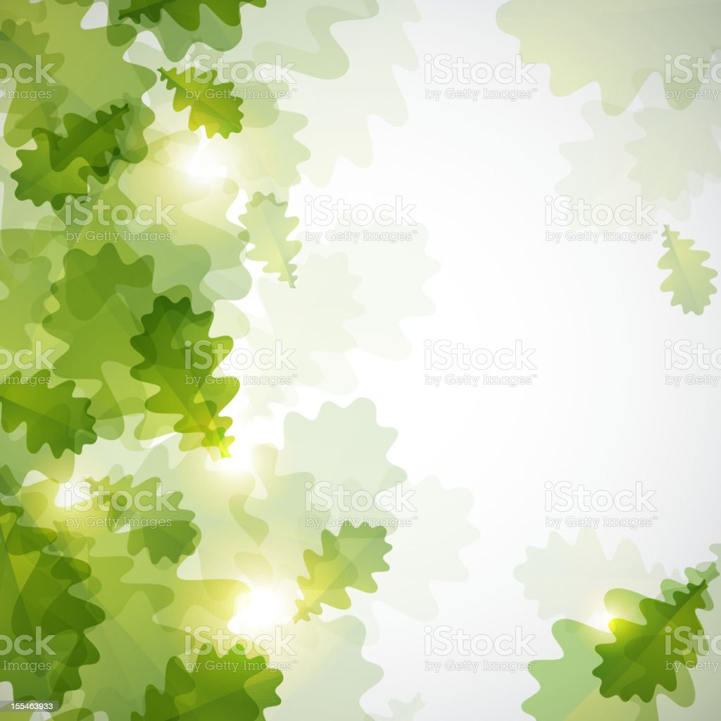 abstract shiny background with green oak leaves royalty-free stock vector art