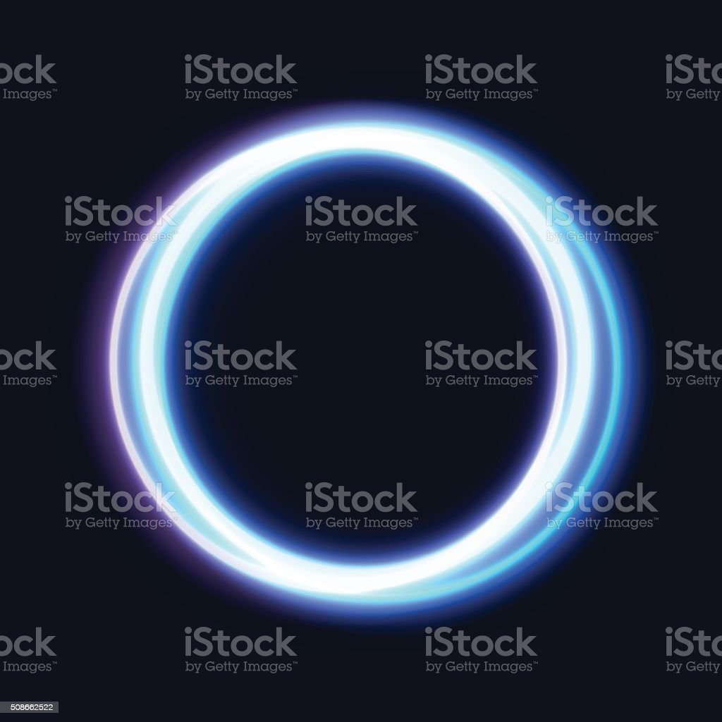Abstract Shiny Light Circles. Bright rings on dark background vector art illustration