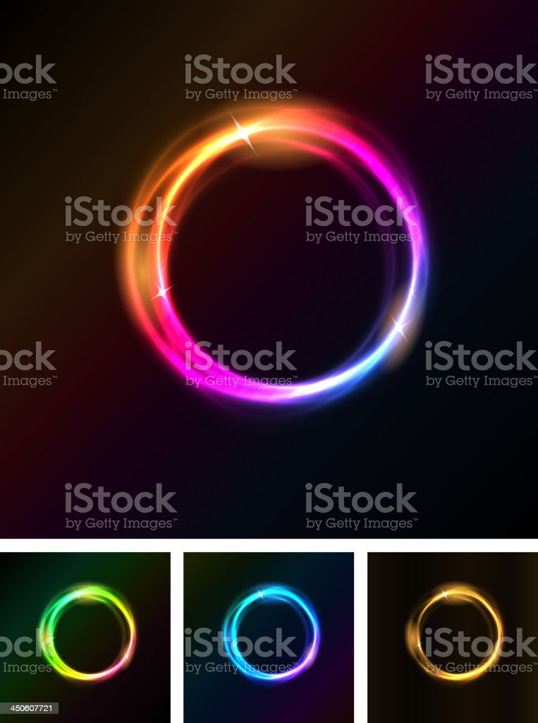Abstract Shiny Light Circles vector art illustration