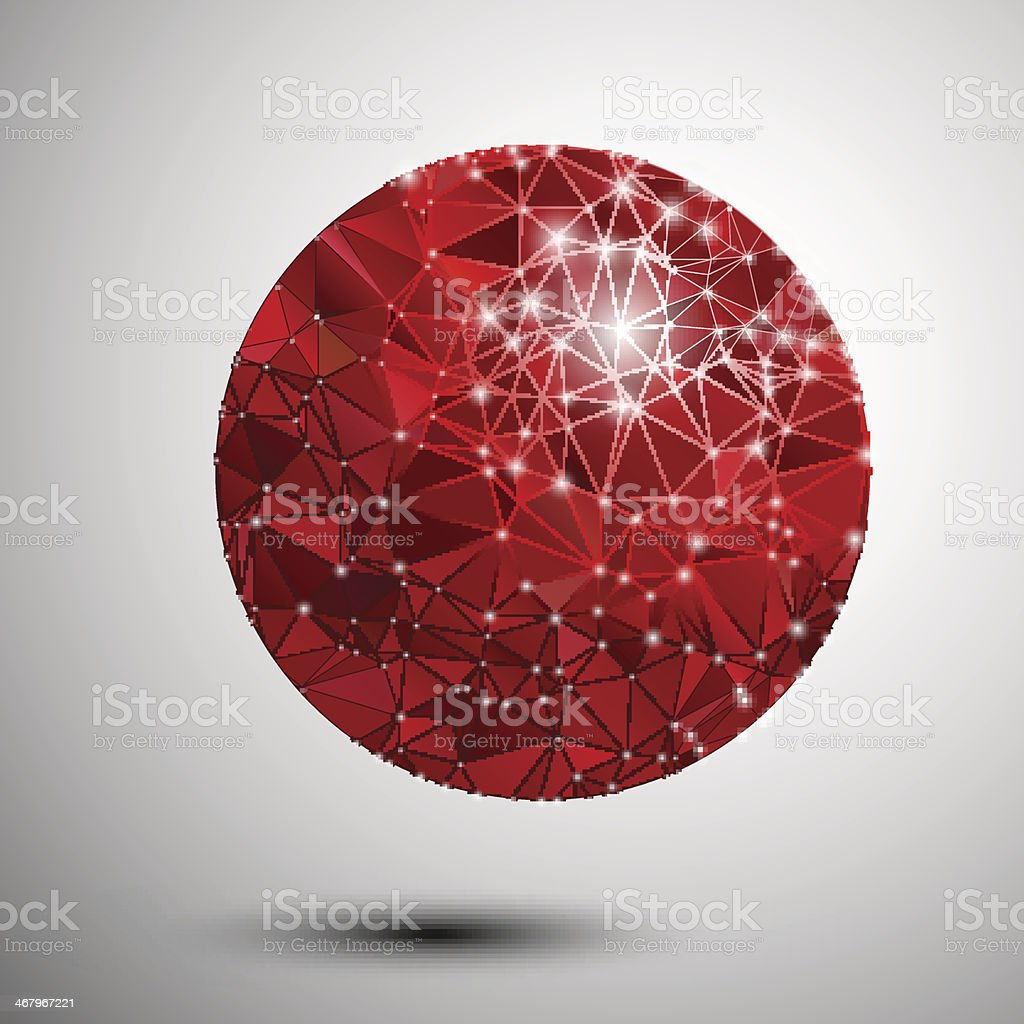 Abstract shiny red polygonal sphere royalty-free stock vector art