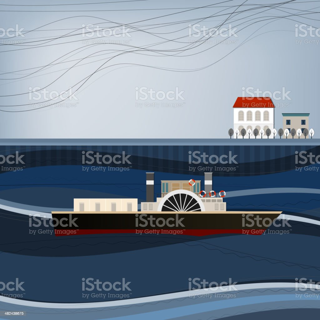 abstract ship landscape royalty-free stock vector art