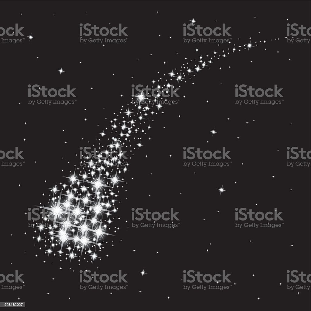 Abstract shooting star vector art illustration