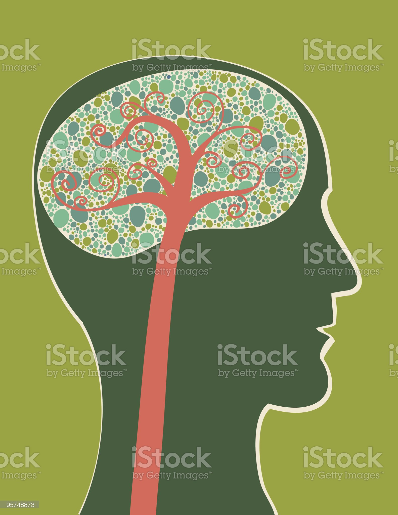 Abstract side view of the brain royalty-free stock vector art