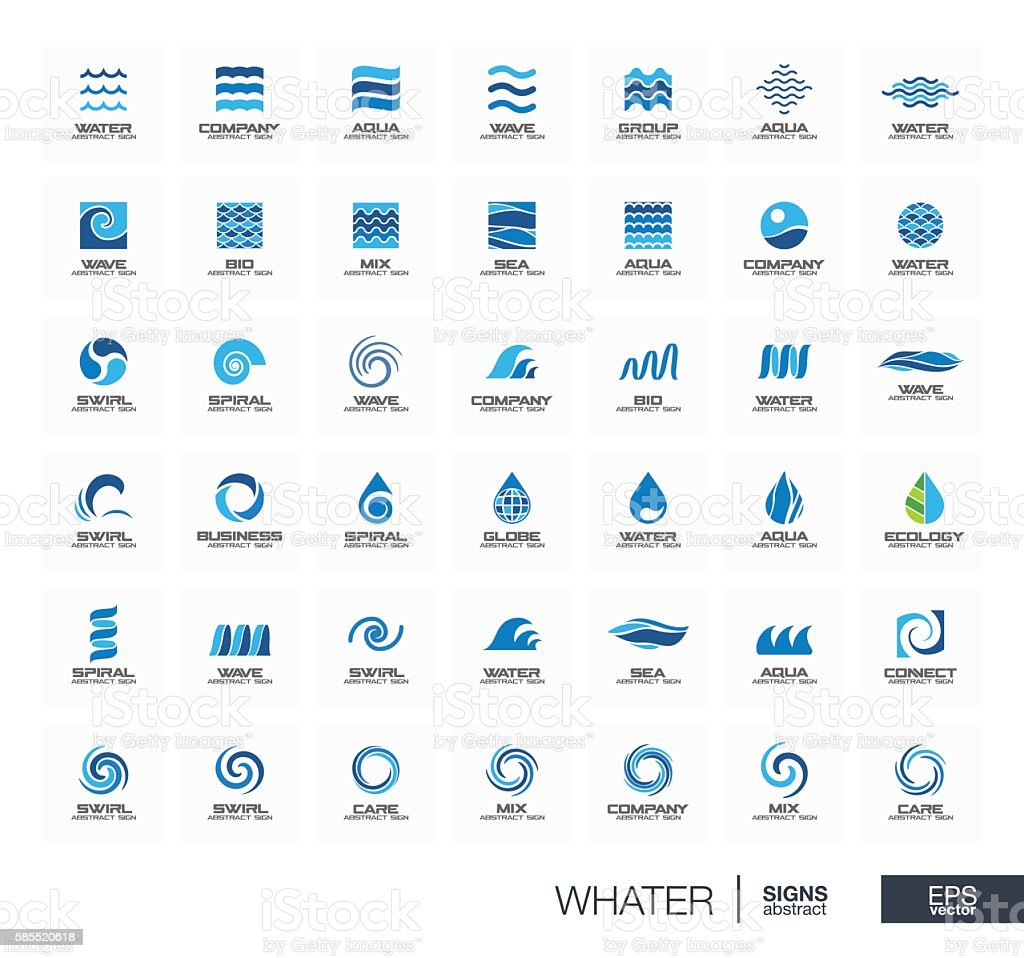 Abstract sign set for business company. Star, Water wave, drops vector art illustration