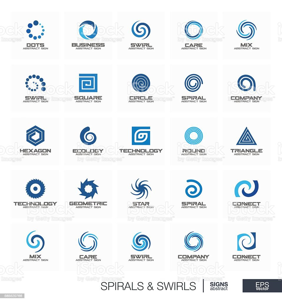 Abstract sign set for business company. Wave, circle, spring, rotation vector art illustration