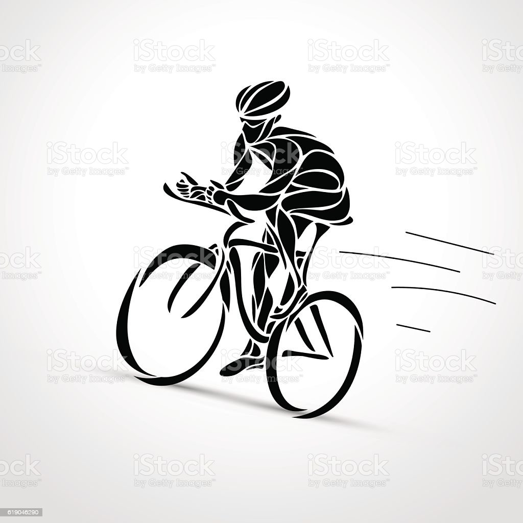 Abstract silhouette of bicyclist. Black bike cyclist logo vector art illustration