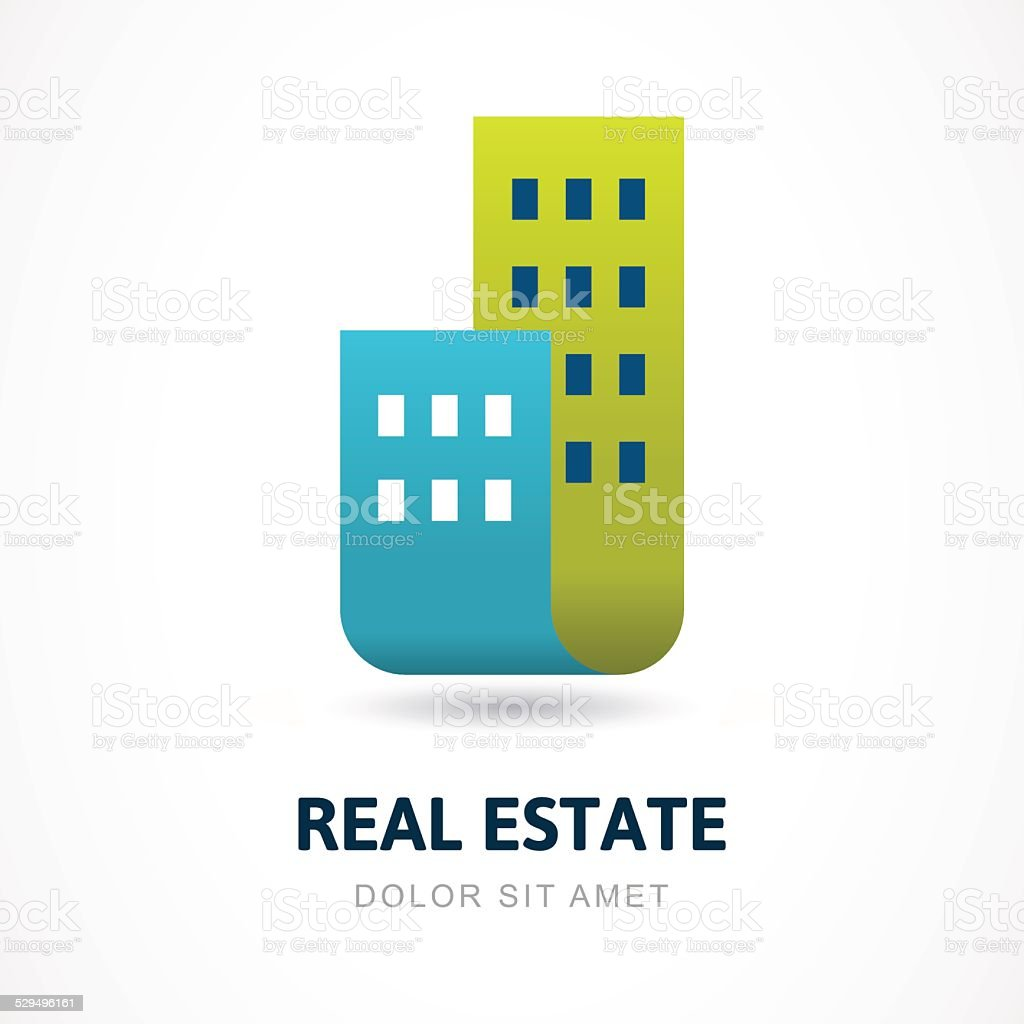 Abstract silhouettes of buildings. Vector logo icon template. vector art illustration
