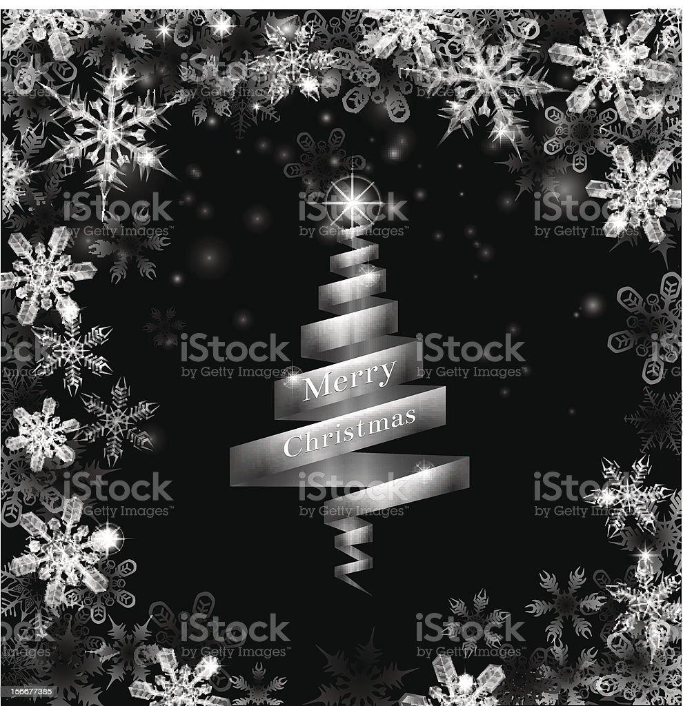 Abstract silver ribbon Christmas tree royalty-free stock vector art