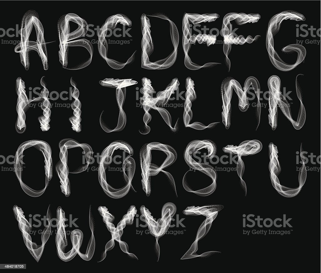Abstract smoke alphabet-B & W vector art illustration