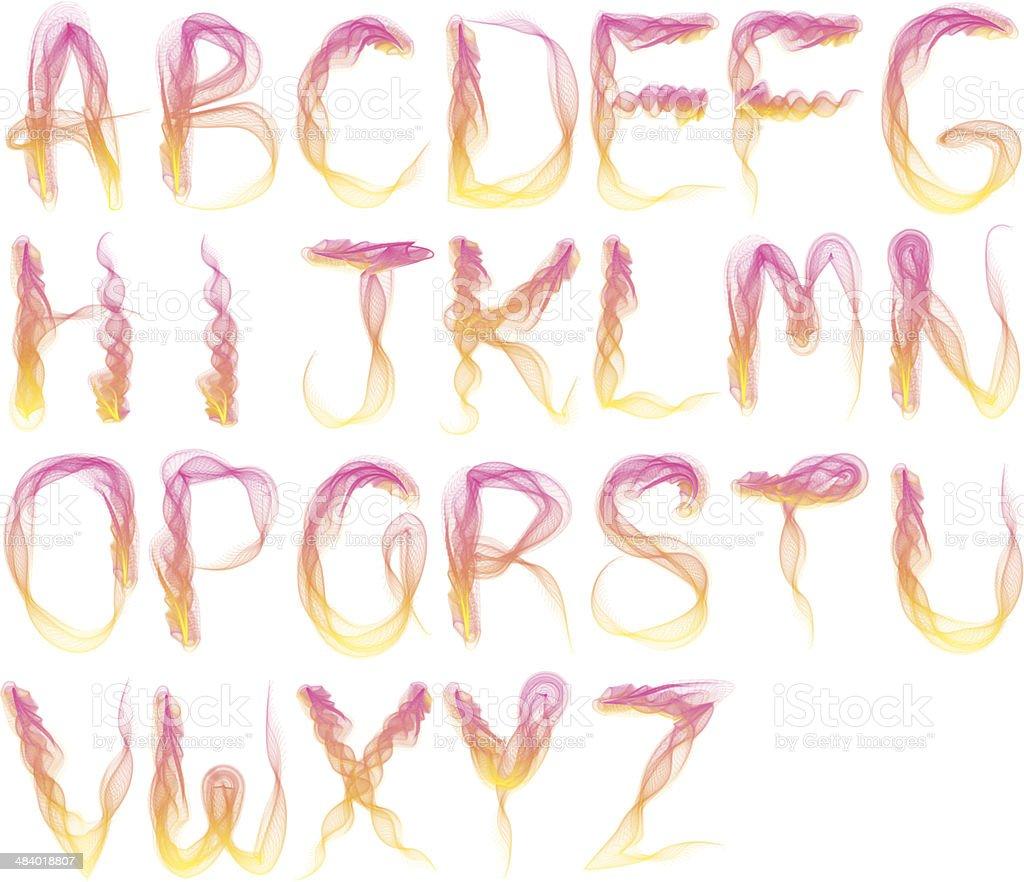 Abstract smoke alphabet-color version vector art illustration