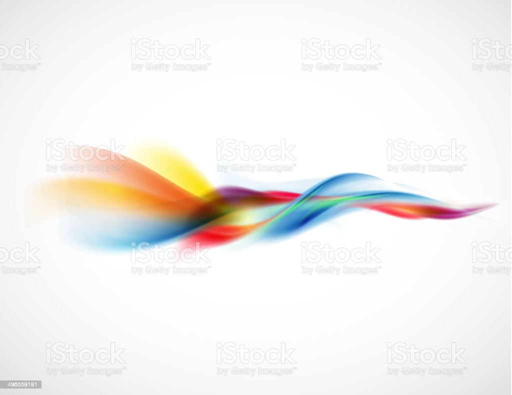 Abstract smooth colorful flow element horizontal on white background, Vector vector art illustration