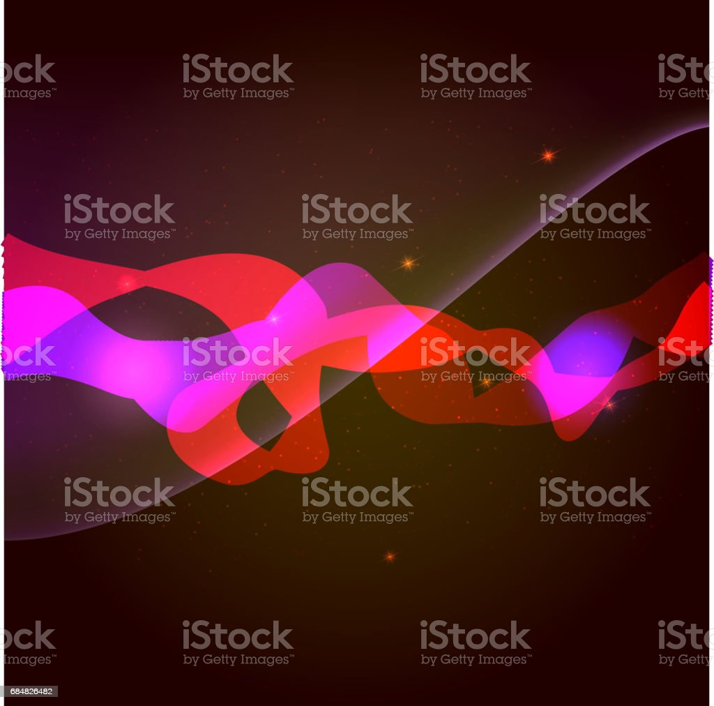 Abstract smooth wave, light and sparkle on dark red background. Vector special effects, curve flow smoke, a wave motion illustration. Template for vip banners, invitation or cover vector art illustration