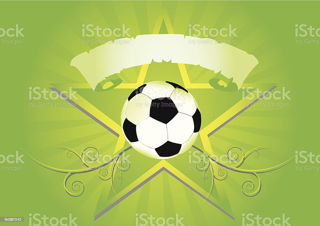 abstract soccer ball with star and spiral vector art illustration