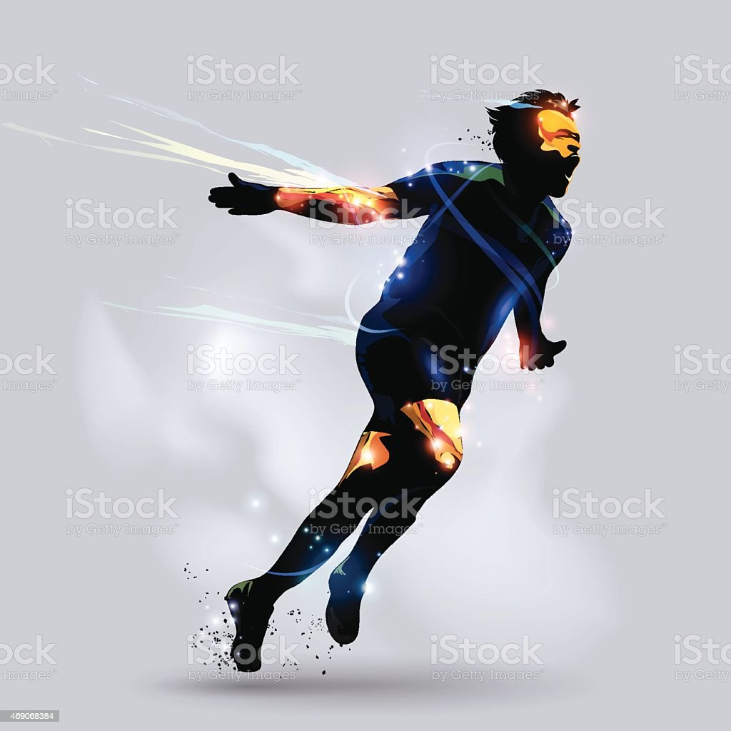 Abstract soccer celebrating goal vector art illustration