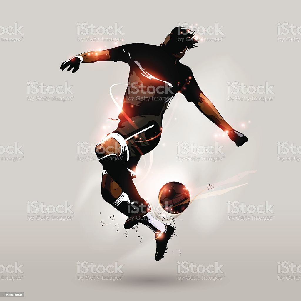 abstract soccer jumping touch ball vector art illustration