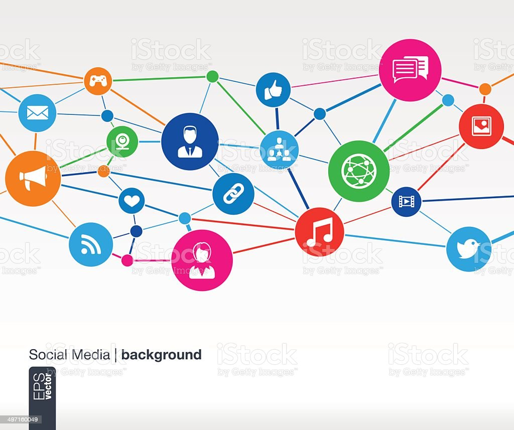 Abstract social media background with lines, circles and flat icons. vector art illustration