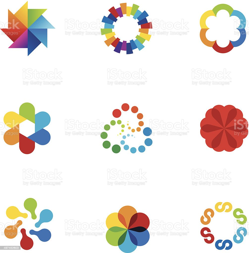 Abstract social partnership community company bond colorful app logo icons vector art illustration