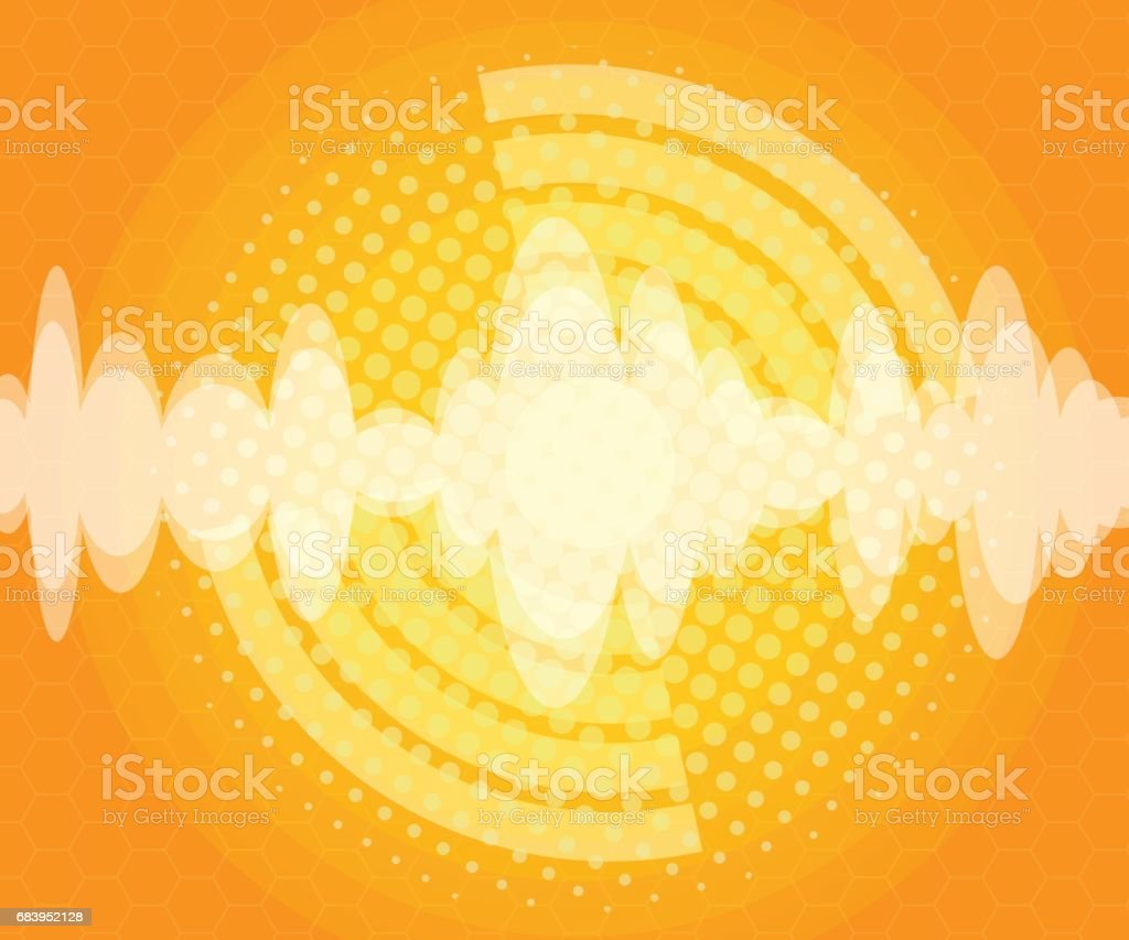 abstract sound wave with halftone background vector art illustration