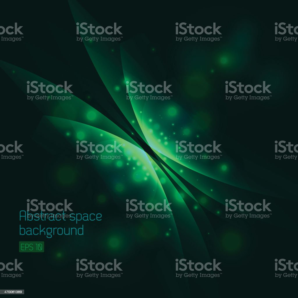 Abstract space background with green butterfly vector art illustration