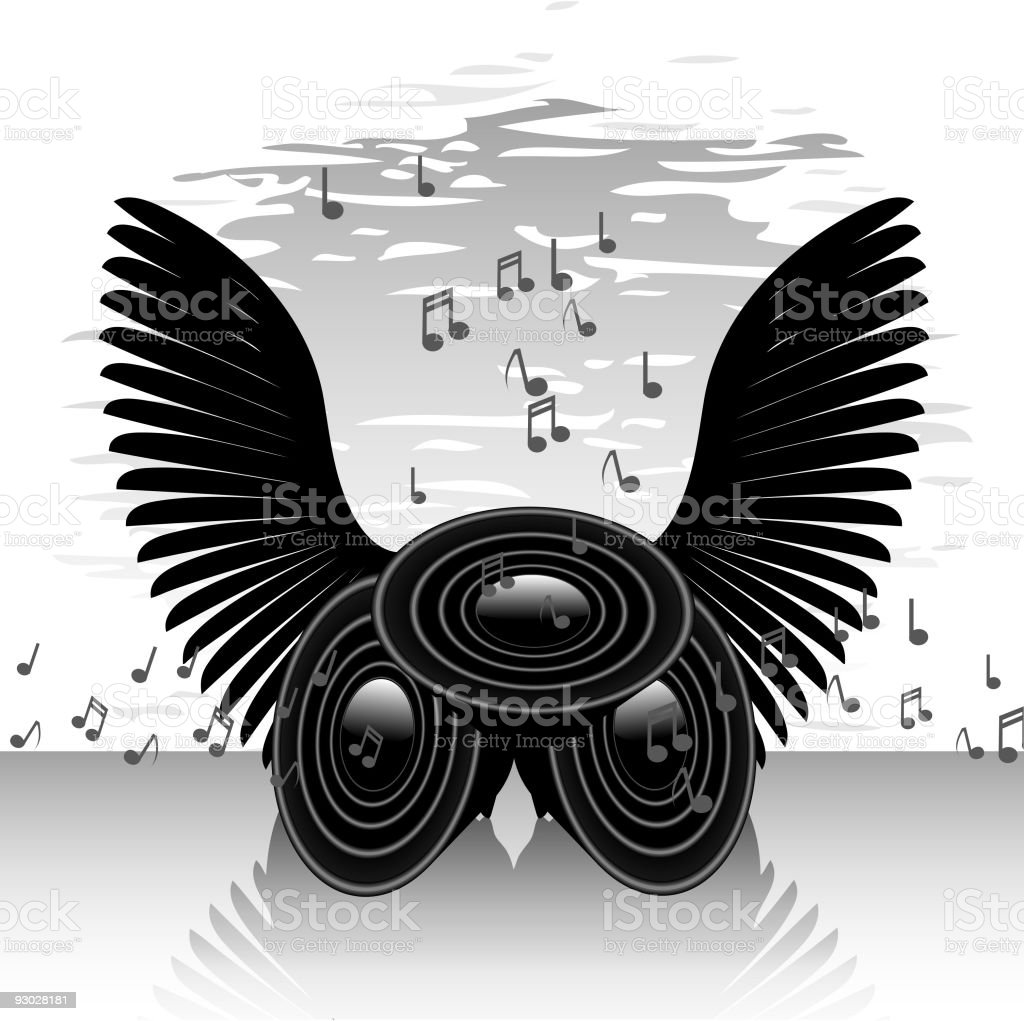 Abstract speakers and wings royalty-free stock vector art