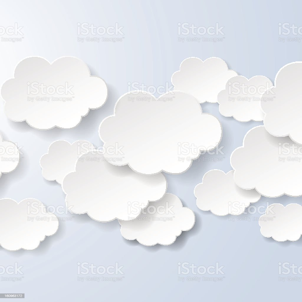 Abstract speech bubbles in the shape of clouds royalty-free stock vector art