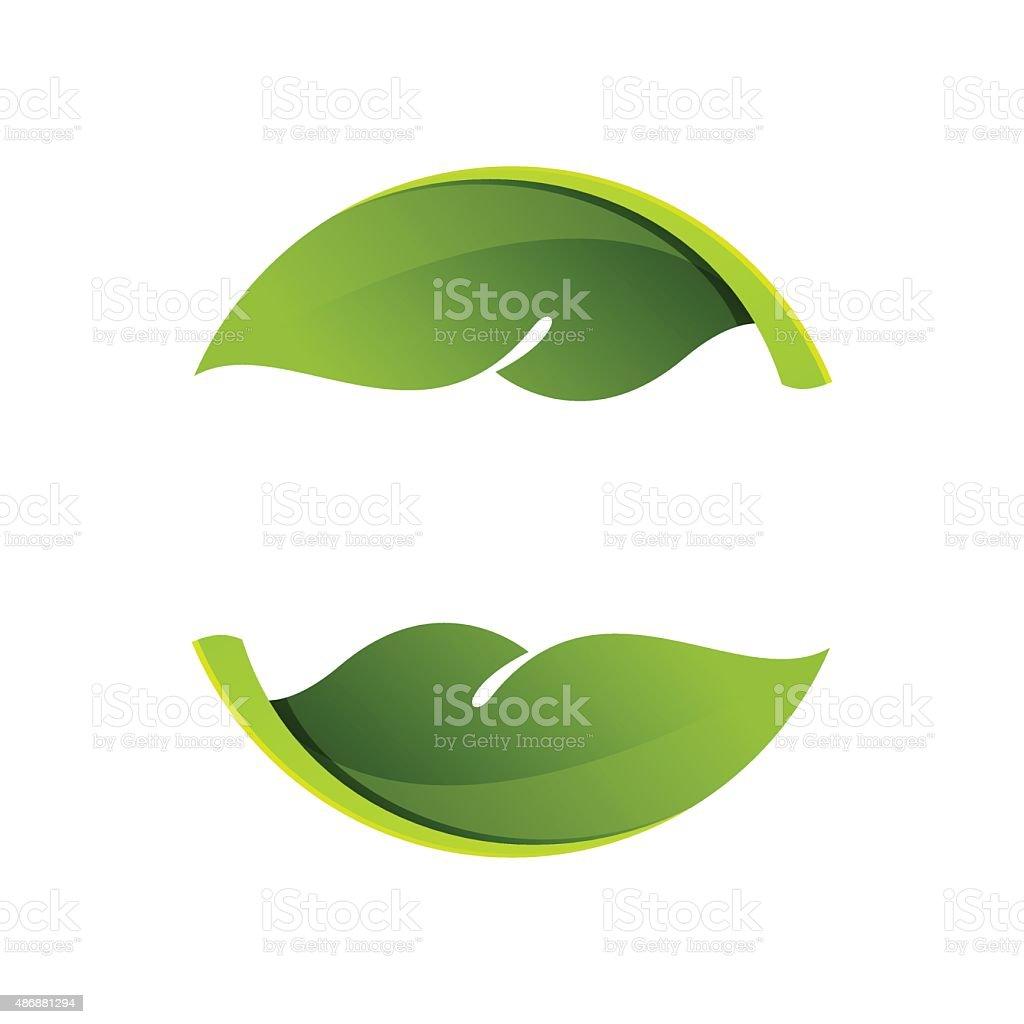 Abstract sphere green leaf logo vector art illustration