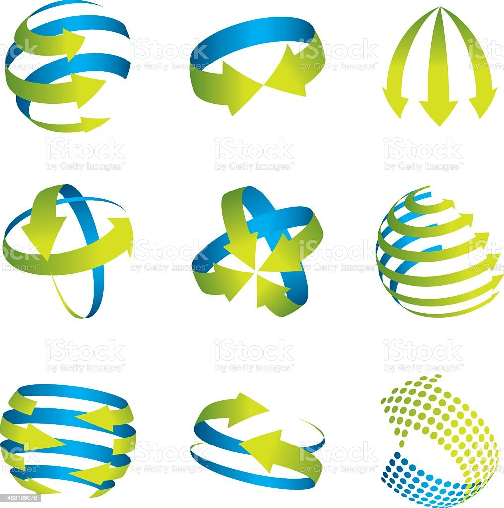Abstract spherical arrow icons. vector art illustration