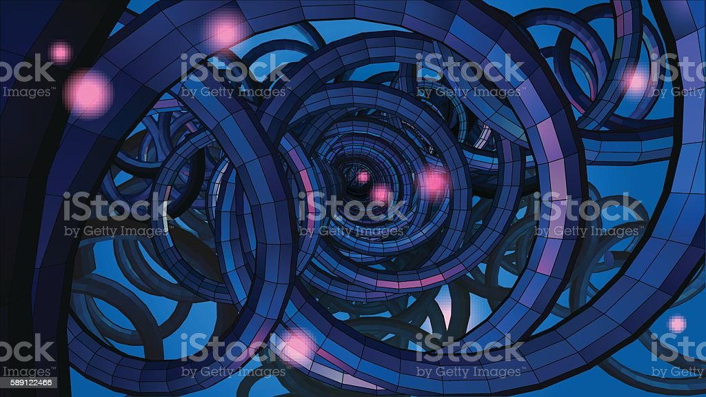 Abstract spiral wire background with technology or sci fi concep vector art illustration