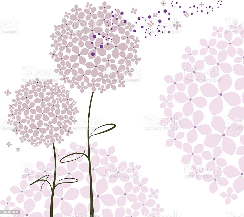 Abstract springtime purple Hydrangea flower royalty-free stock vector art