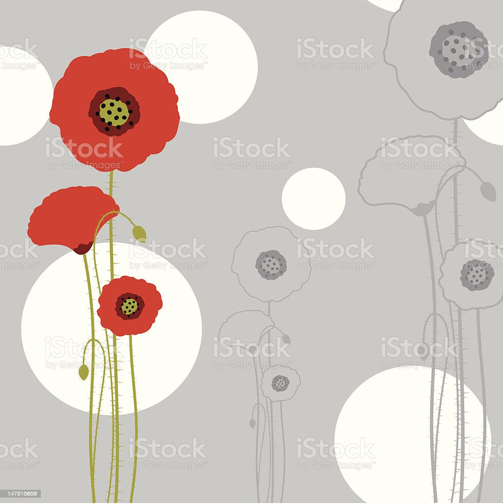 Abstract springtime red poppy background royalty-free stock vector art