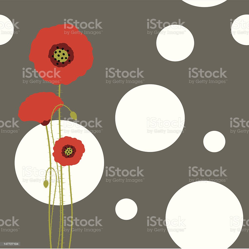 Abstract springtime red poppy on seamless pattern background royalty-free stock vector art
