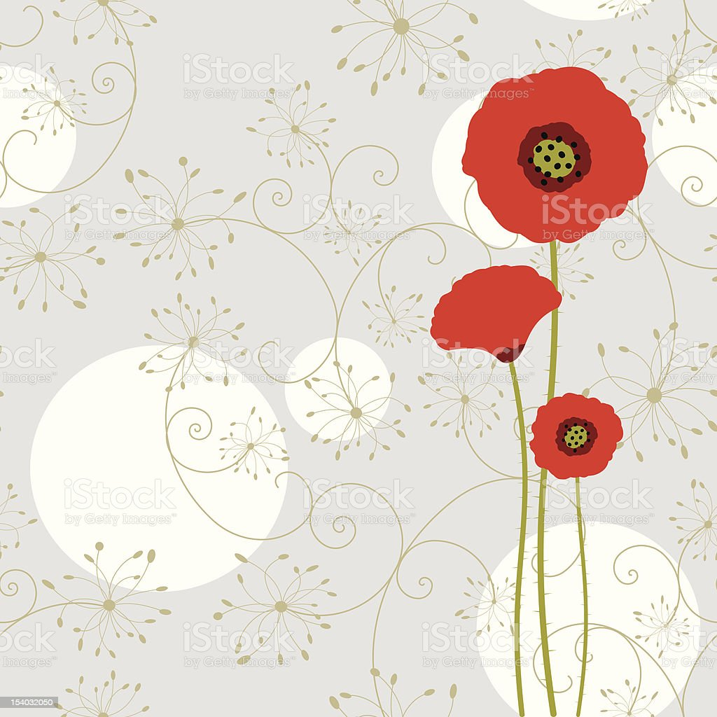 Abstract springtime red poppy vector art illustration
