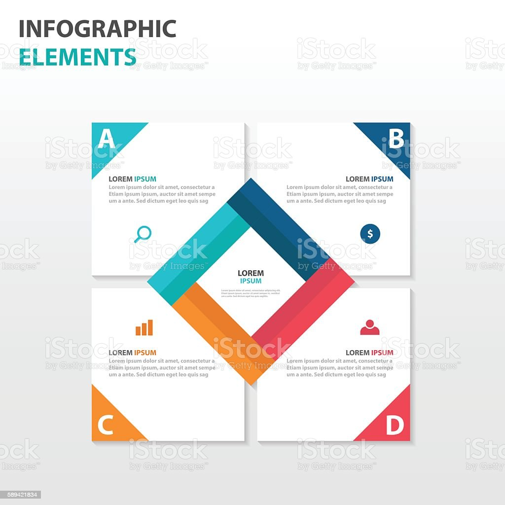 abstract square business infographics elements presentation template