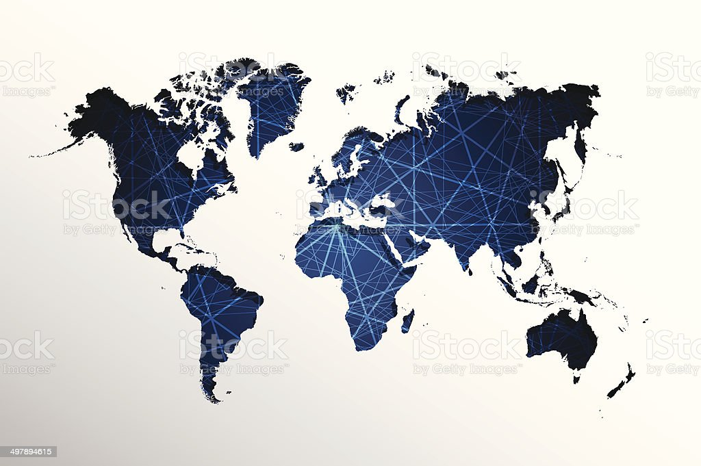 Abstract  straight lines.And world map background vector art illustration