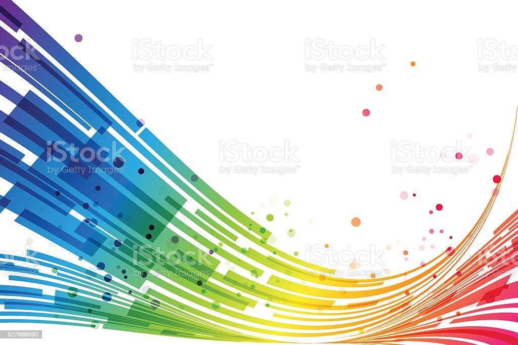 Abstract stripes rainbow background vector art illustration