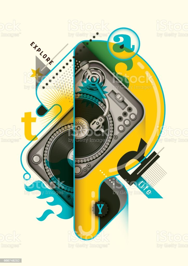 Abstract style poster design with turntable. vector art illustration