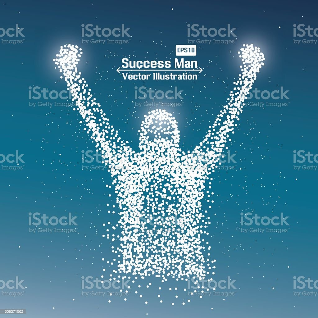 Abstract successful man from dot vector art illustration