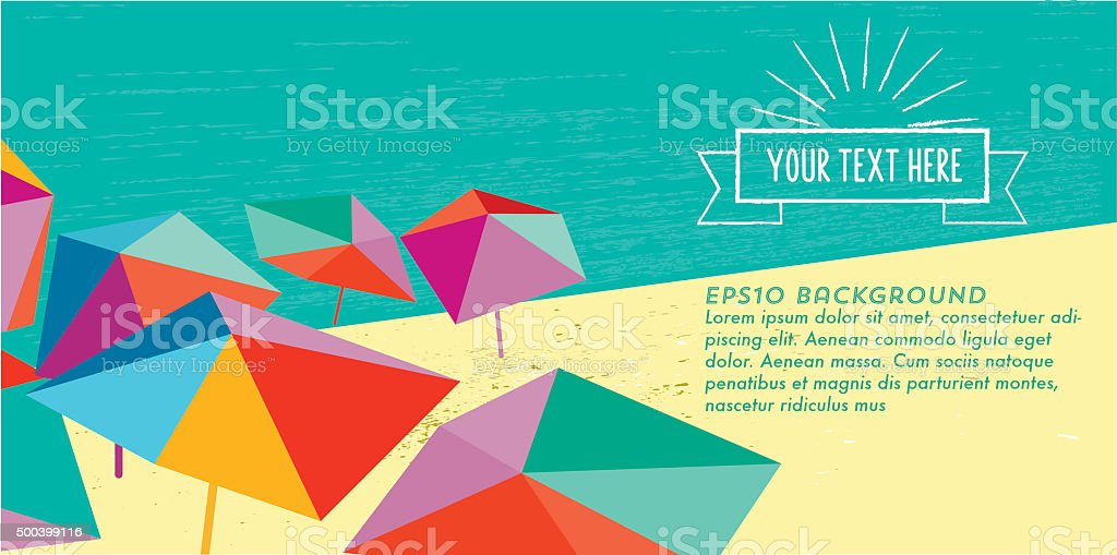 abstract summer beach illustration banner with vintage sun badge vector art illustration