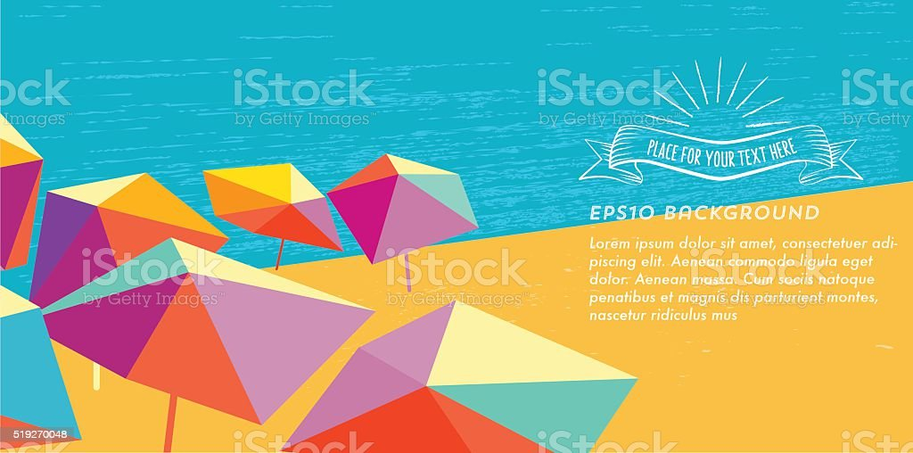 abstract summer beach illustration banner with vintage sun badge vector art illustration