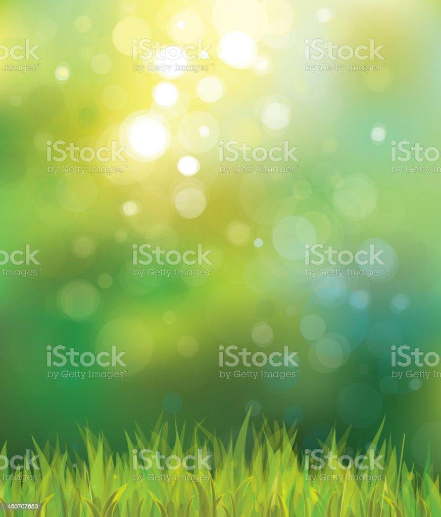 Abstract sunny spring grass background vector art illustration