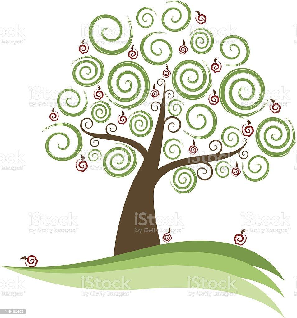 Abstract Swirl Apple Tree royalty-free stock vector art